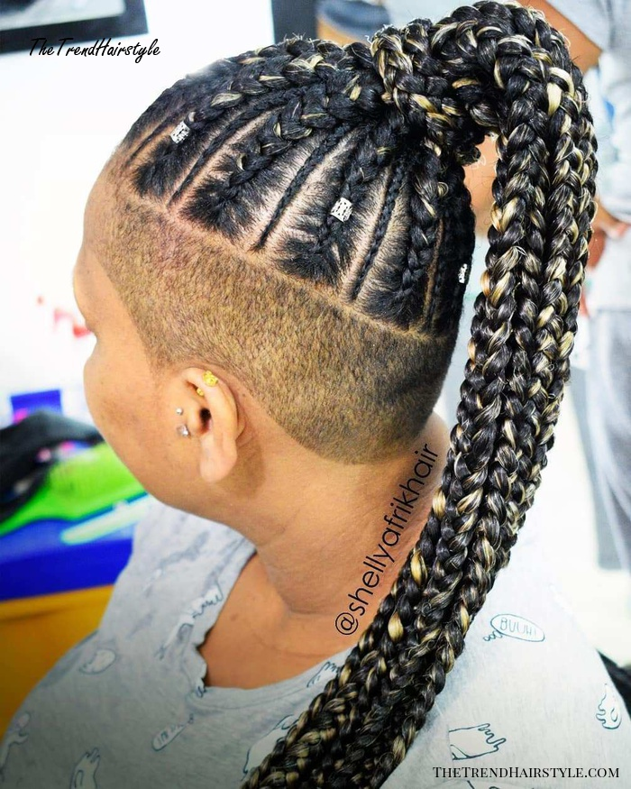 Half Shaved Hairstyle with Cornrows