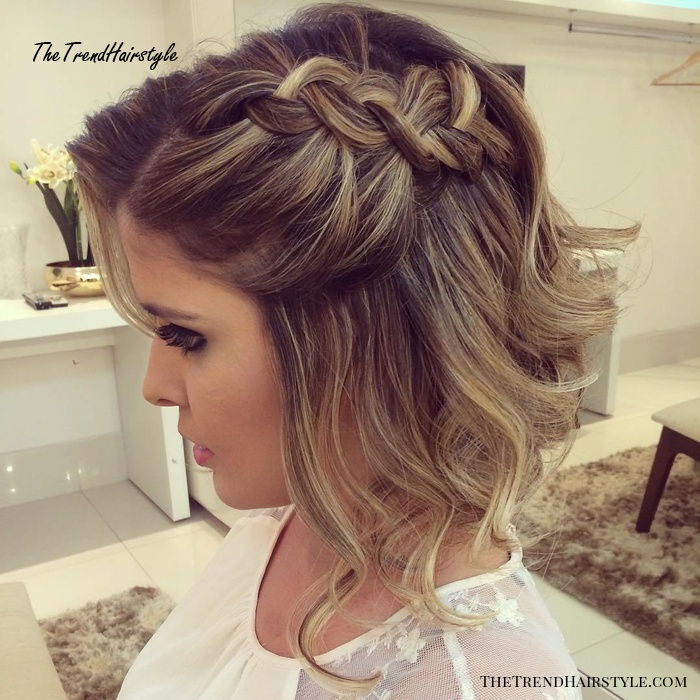 Braided Half Updo for Short Hair - 50 Hottest Prom Hairstyles for Short Hair - The Trending ...