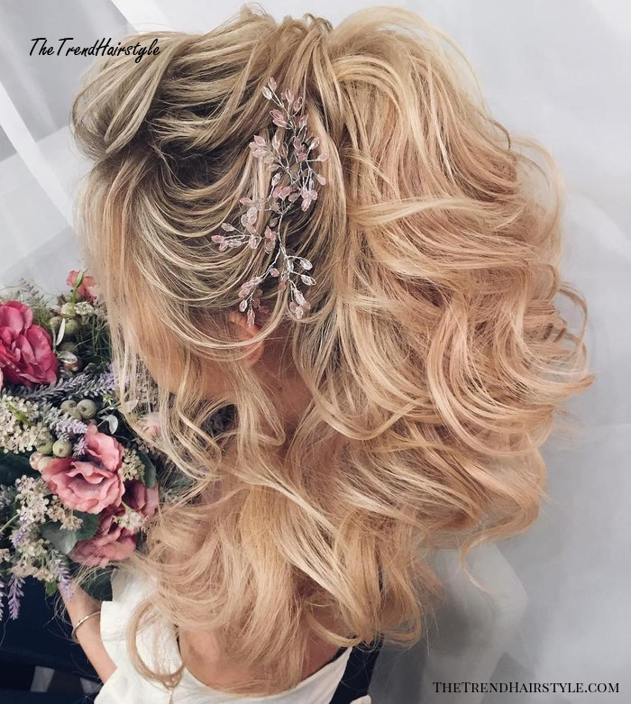 Half Up Curly Ponytail For Wedding