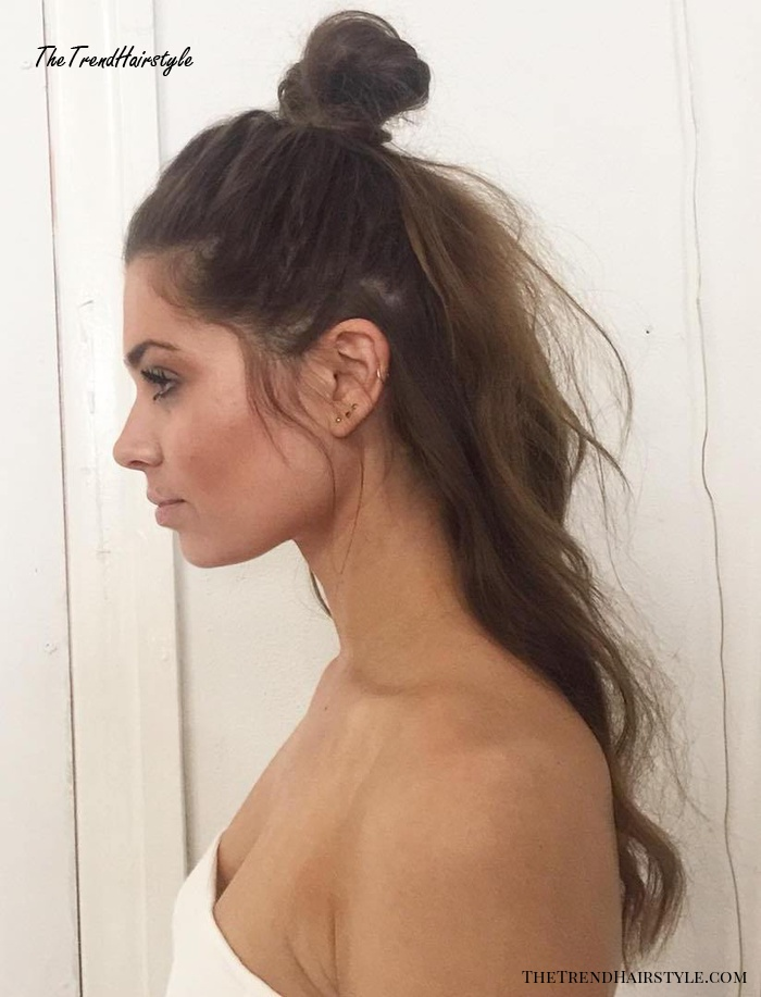Half Up Knot For Long Hair