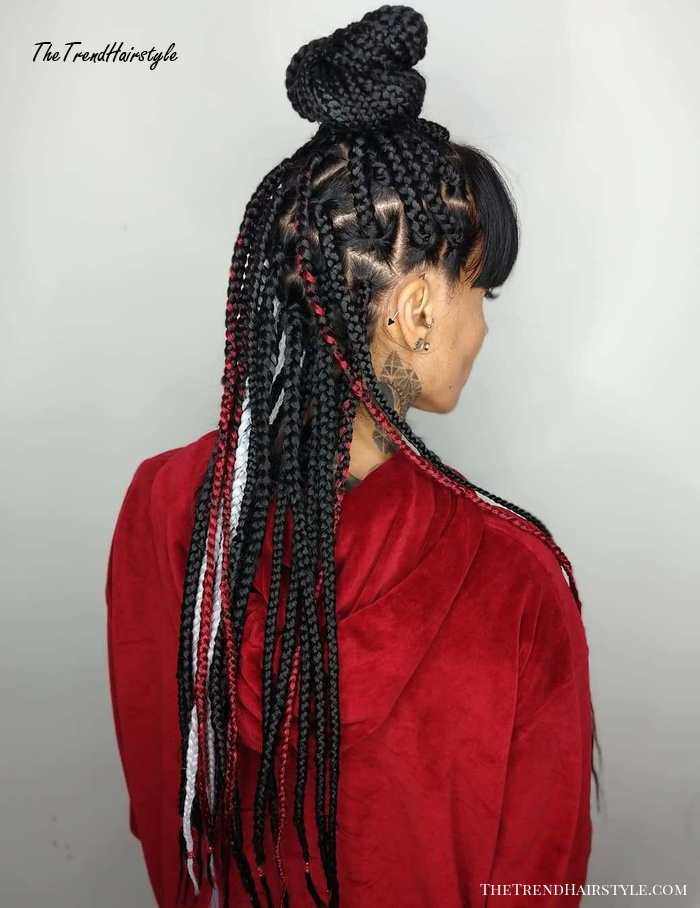 Half Up Top Knot With Bangs For Box Braids
