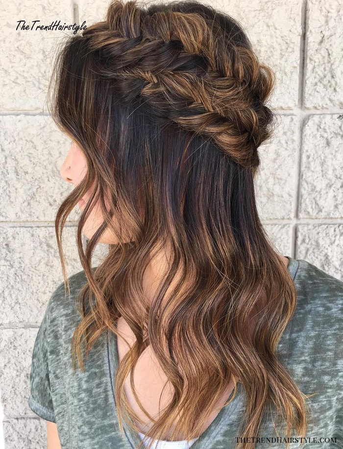 Half Updo With Crown Fishtail Braid