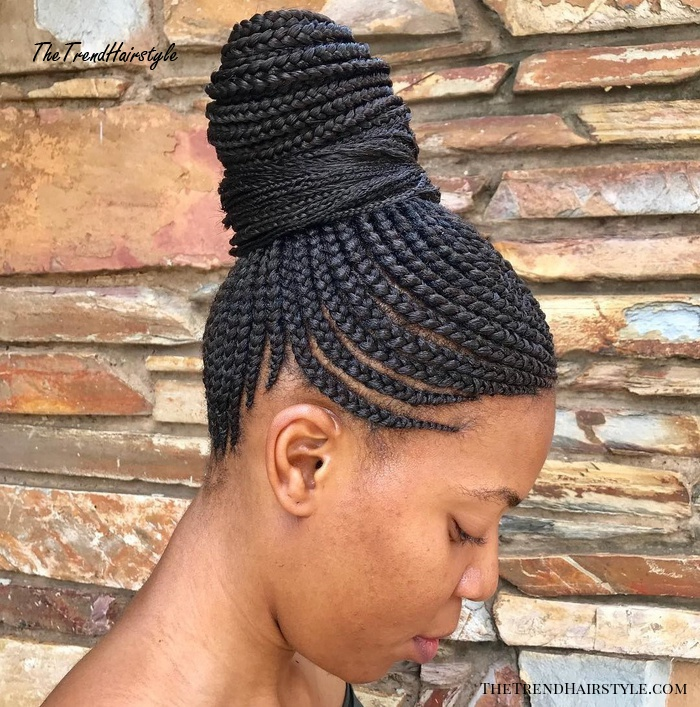 High Bun With Box Braids