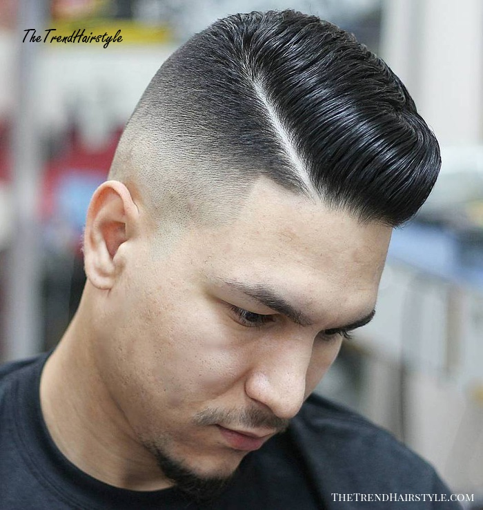 High Fade Pompadour With Side Part