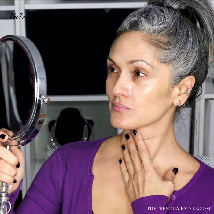 High Gray Ponytail For Second Day Hair