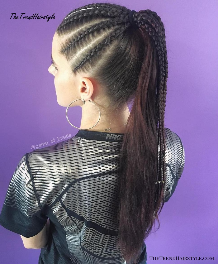 High Long Brunette Ponytail With Cornrows