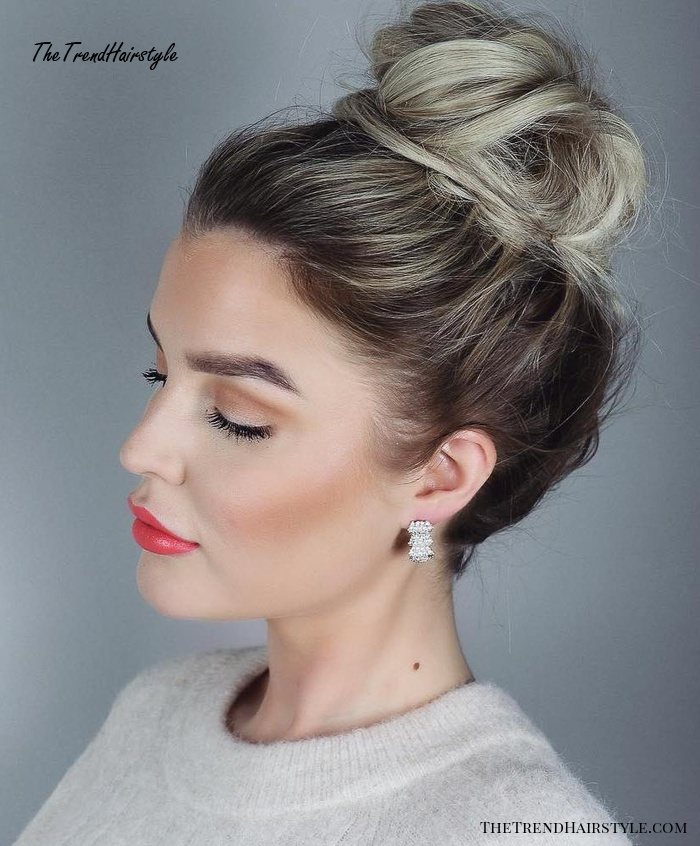Slick Easy Bun Hairstyle for Work - 20 Cute and Easy Hairstyles for Work - The Trending Hairstyle