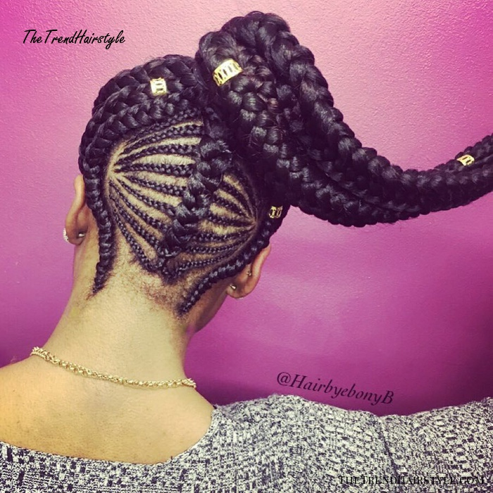 High Ponytail With Beads And Cornrows