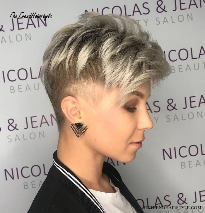 Icy Blonde Androgynous Cut with Undercut