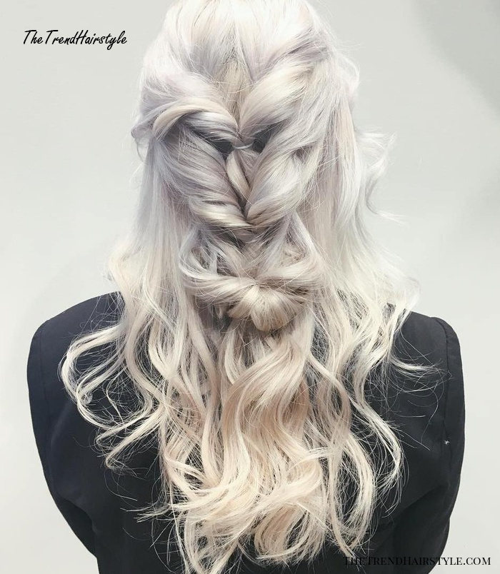Icy Blonde Locs With Chunky Twists