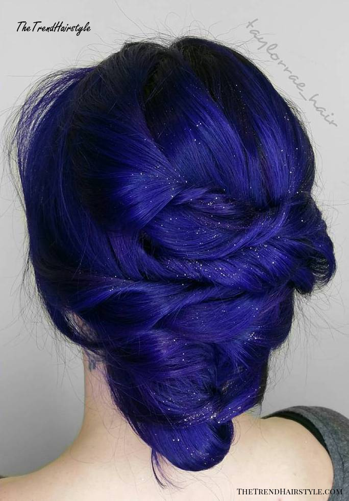 Indigo Blue Twisted Updo
