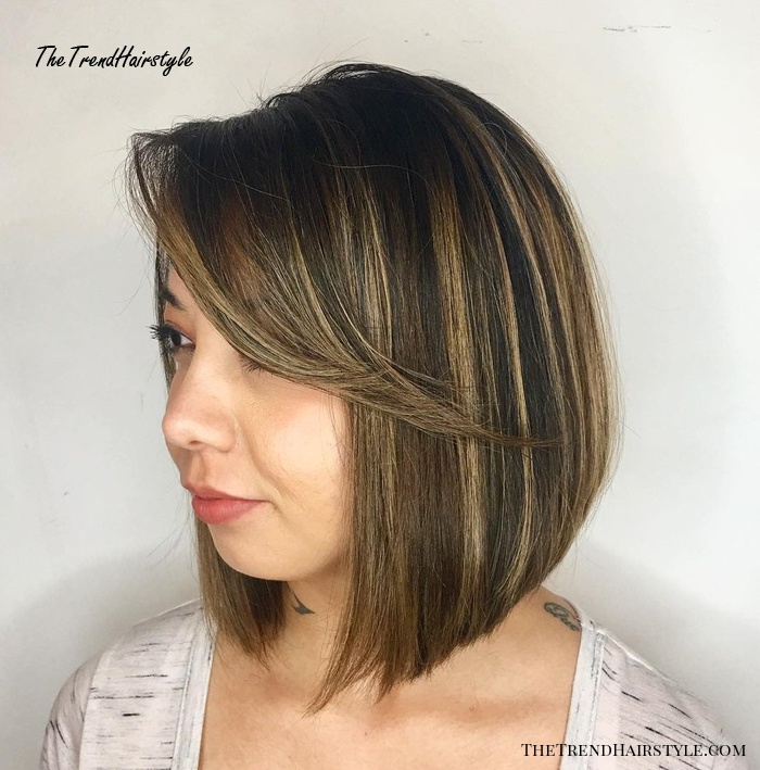 Inverted Brown Bob With Angled Bangs