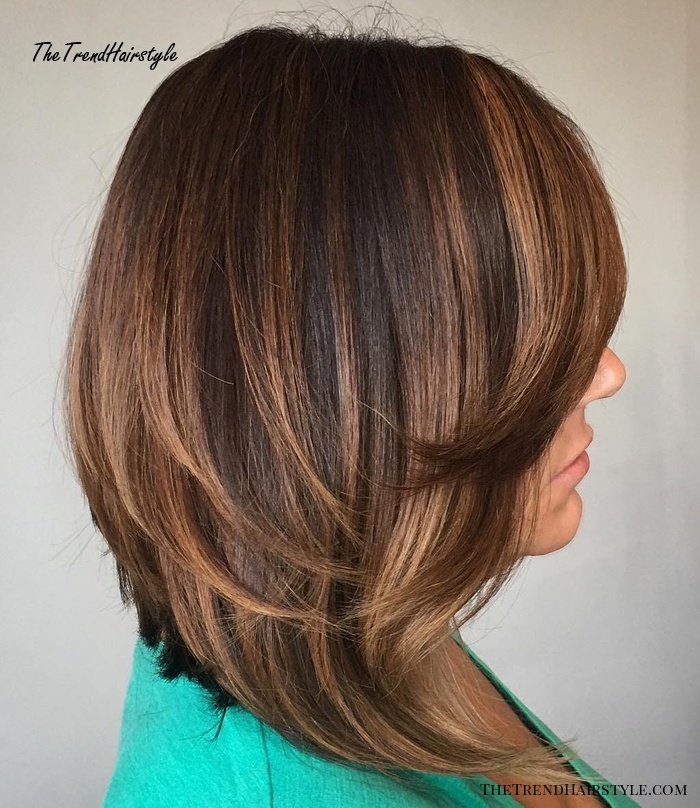 Inverted Caramel Brown Lob