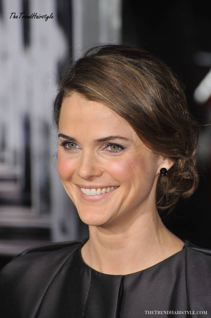 Keri Russell Christmas updo hairstyle