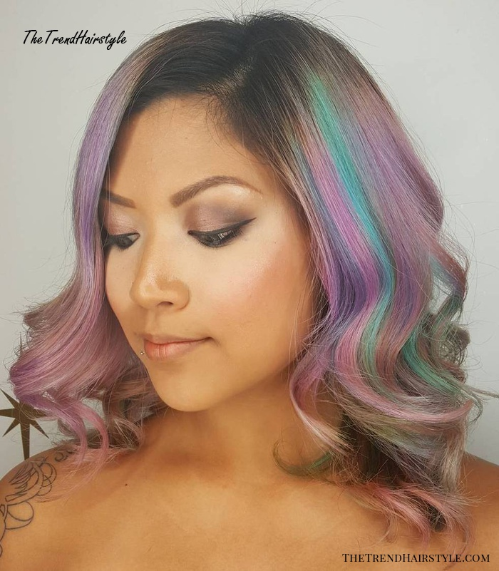 Lavender Hair with Pink Highlights