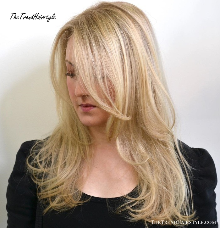 Layered Blonde Hairstyle With Long Side Bangs
