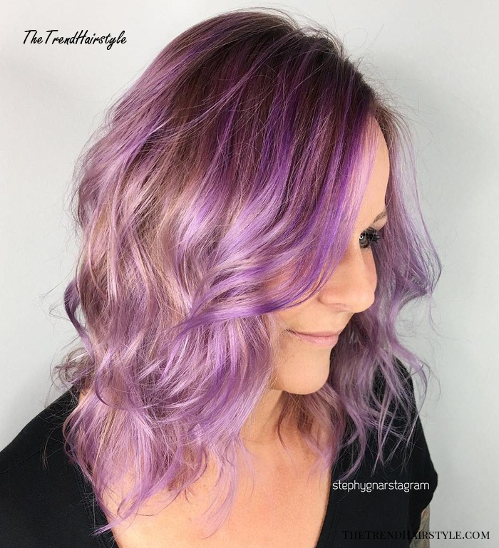 Light Brown And Lavender Balayage Hair