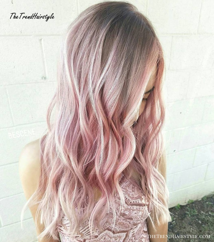 Light Pastel Pink Balayage Hair