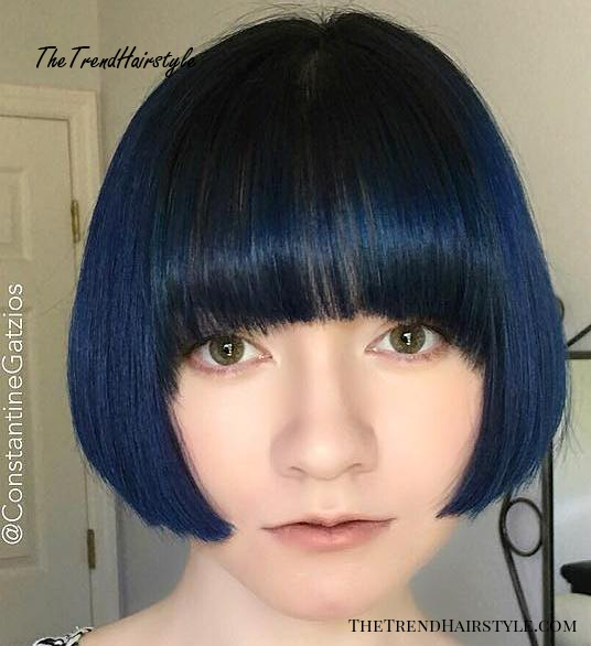 Lip Length Bob With Arched Bangs