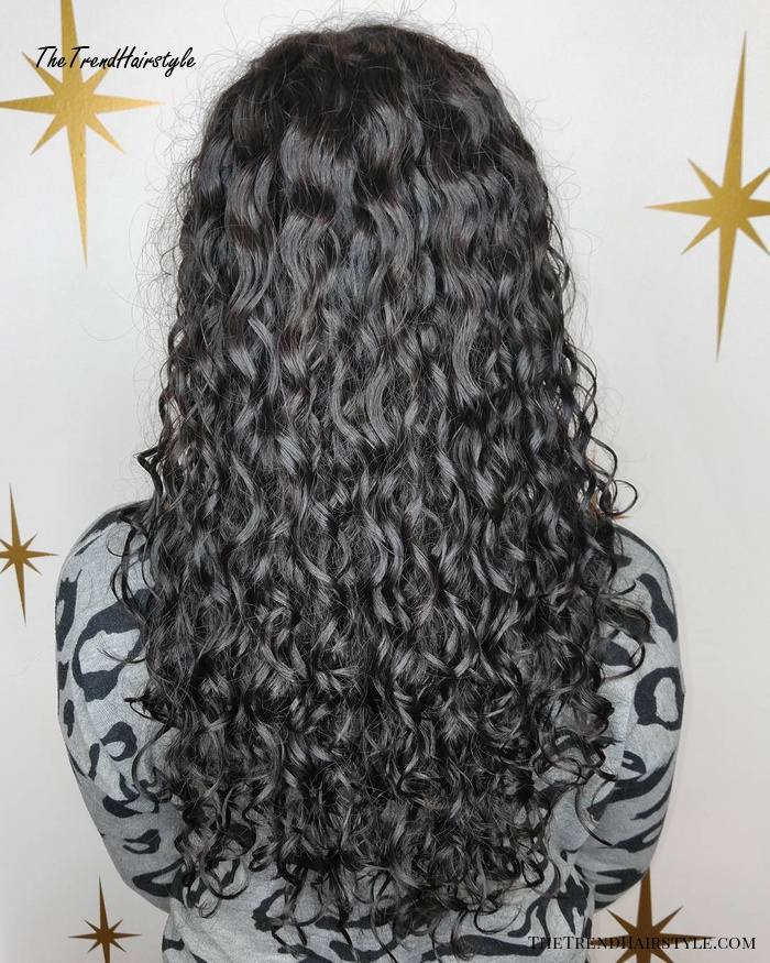 Long Black Permed Hair