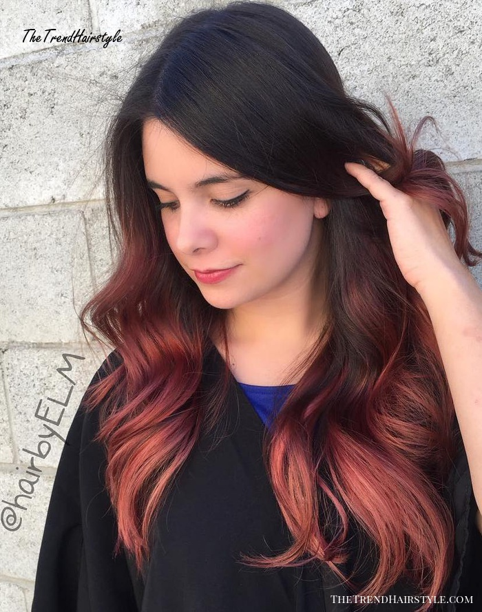 Long Black To Red Ombre Hair