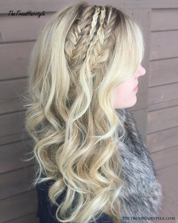 Long Blonde Hairstyle With Side Braids