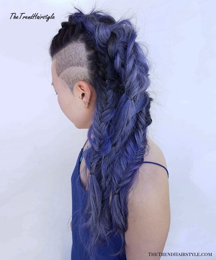 Long Braided Pastel Purple Mohawk