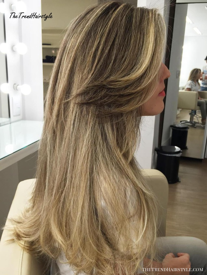 Long Bronde Hairstyle With Side Bangs