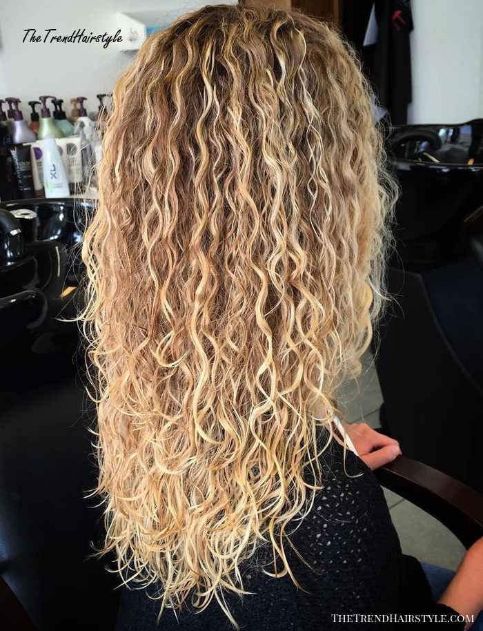 Long Brown Blonde Perm Hair