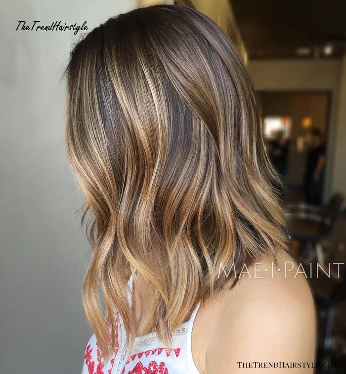 Long Brown Bob With Balayage Highlights