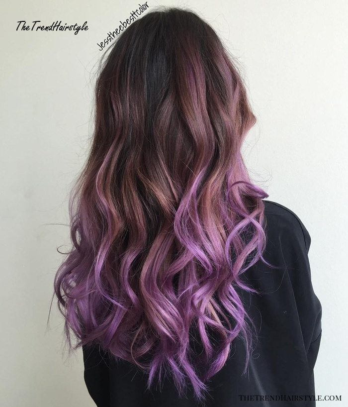 Wavy Brown Bob With Purple Highlights The Prettiest Pastel Purple Hair Ideas The Trending Hairstyle