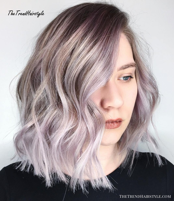 Long Choppy Bob With Silver Balayage
