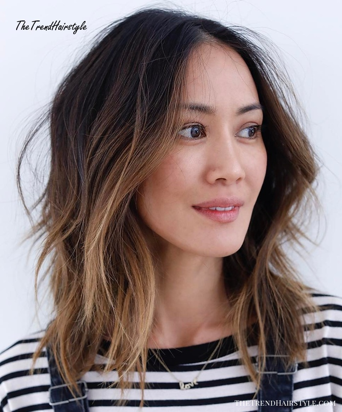Long Choppy Brown Balayage Bob