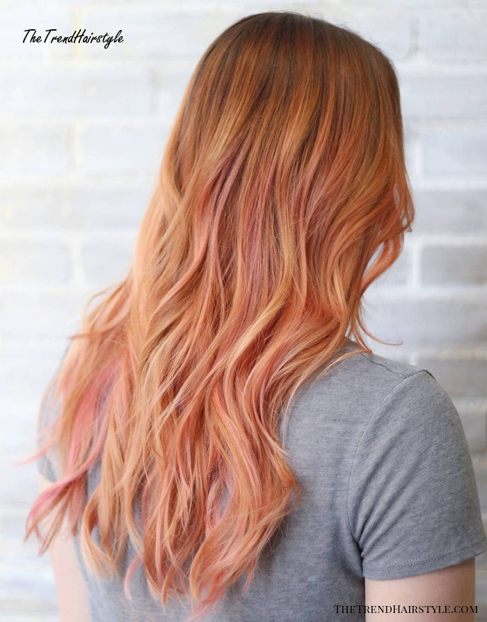 Long Copper Hair With Pink Highlights