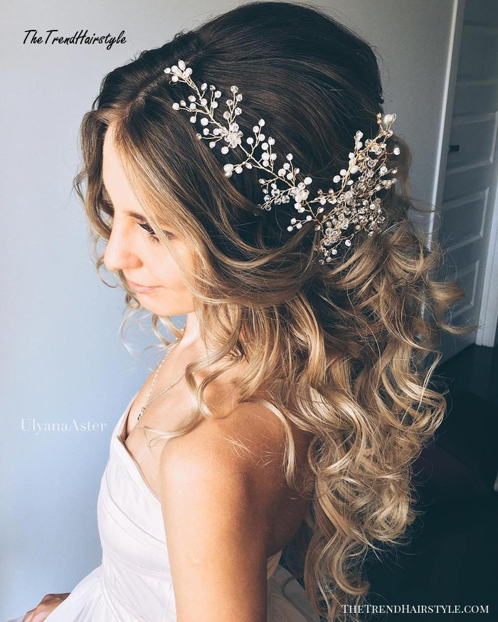 Long Curly Half Updo For Brides