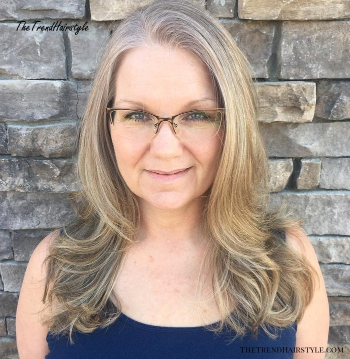 Long Fine Hair With Clear Frame Glasses