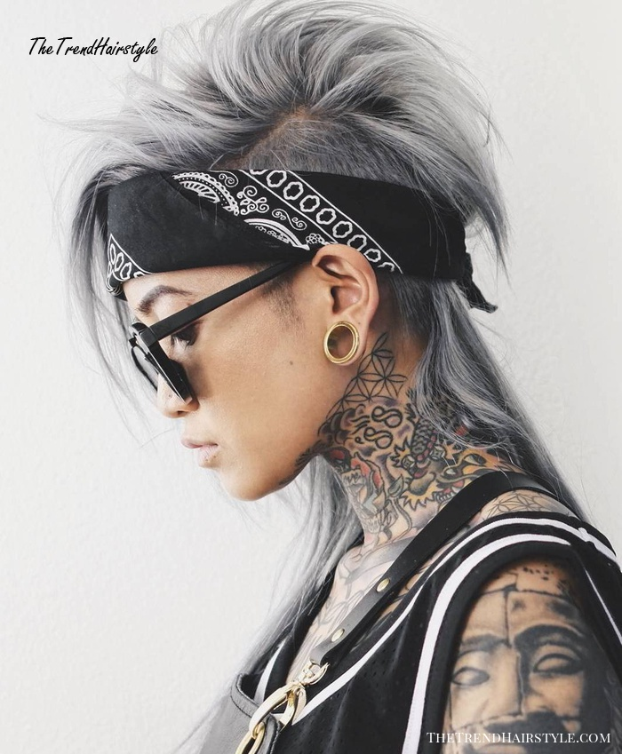 Long Gray Mohawk with Mullet