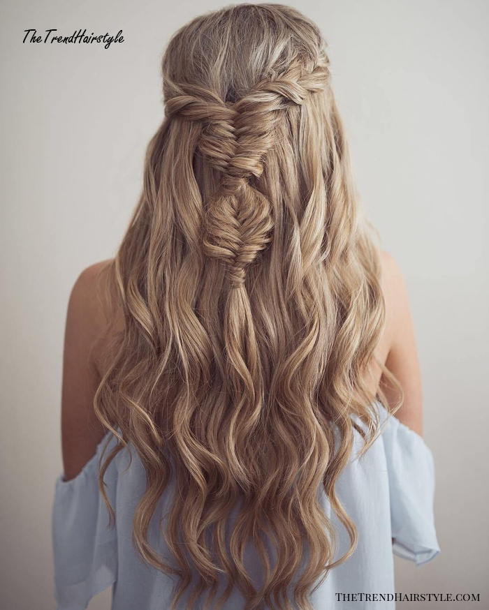 Long Hair Half Updo With Fishtails