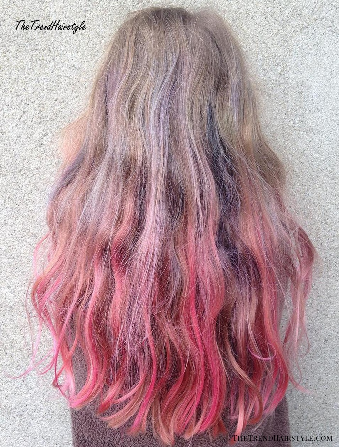 Long Hair With Pastel Pink Ombre