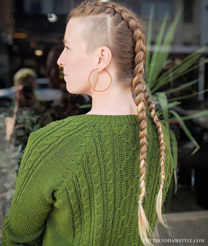 Dutch Braided Hairstyle with Shaved Sides , 20 Superb Braids