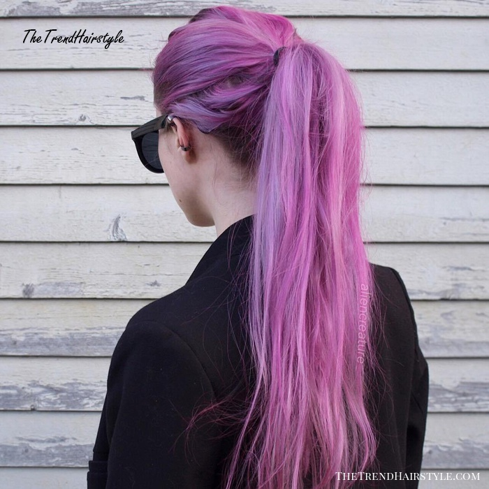 Long Pastel Purple Pink Hair