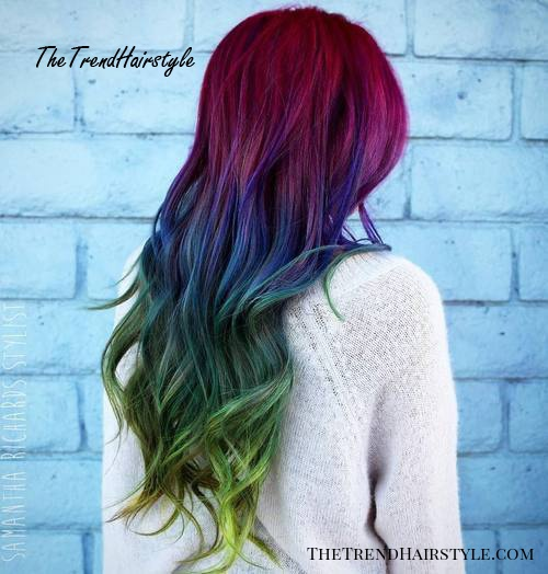 Long Red Blue And Green Hair
