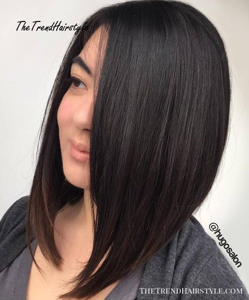 Long Side-Parted Bob For Straight Hair