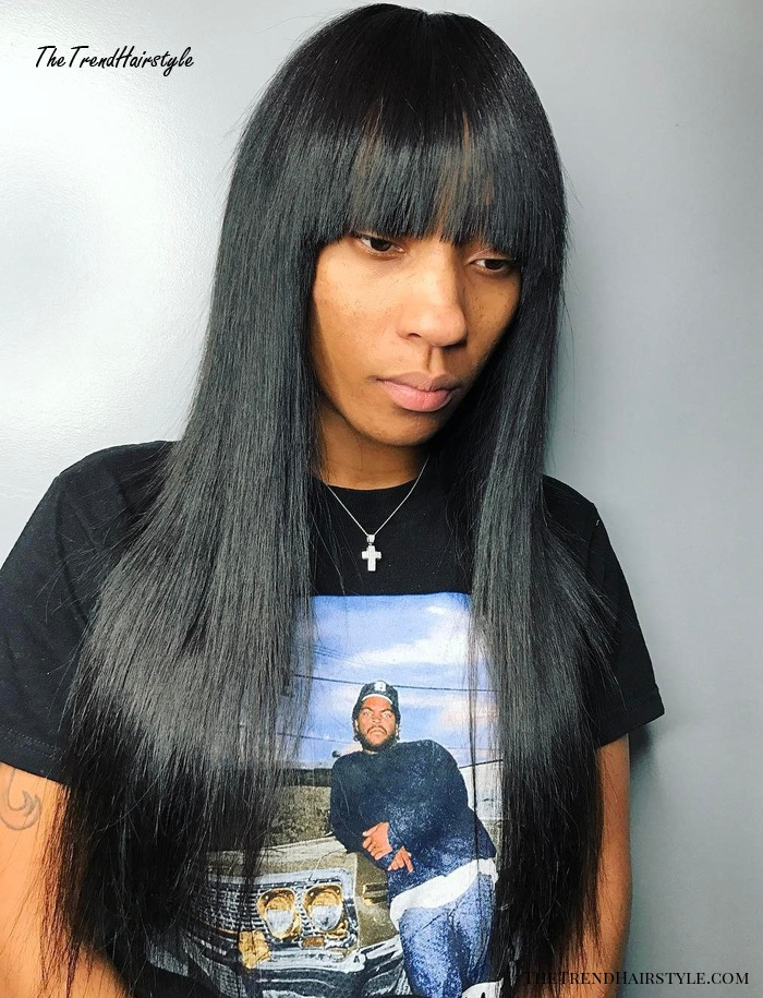 Long Straight Black Sew-In