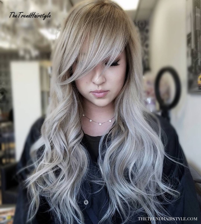 Long Tousled Wavy Hairstyle With Bangs