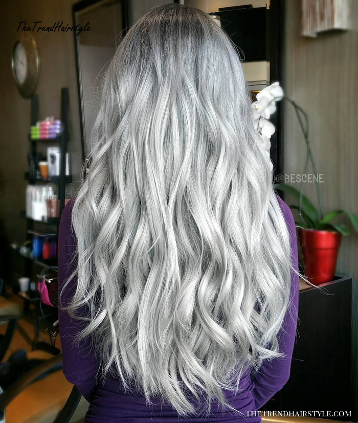 Long Wavy Gray Hairstyle