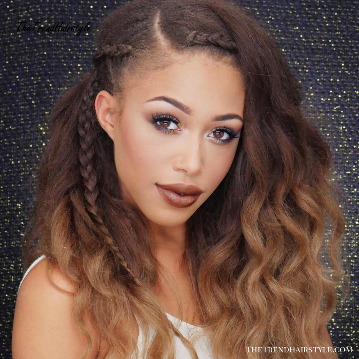 Wavy Ombre with Braids - 30 Best Natural Hairstyles for ...