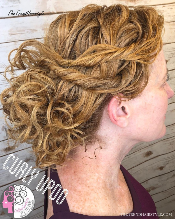Loose Curly Golden Blonde Updo