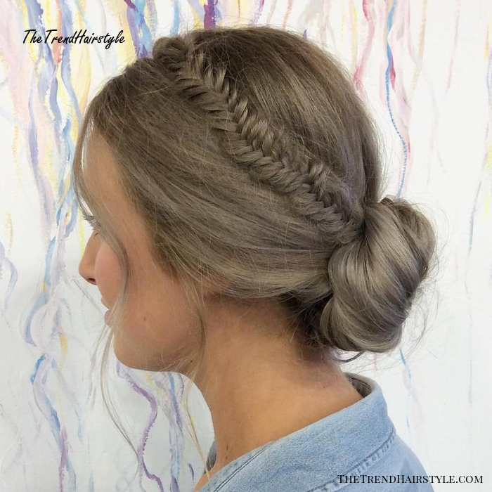 Low Bun With A Crown Fishtail