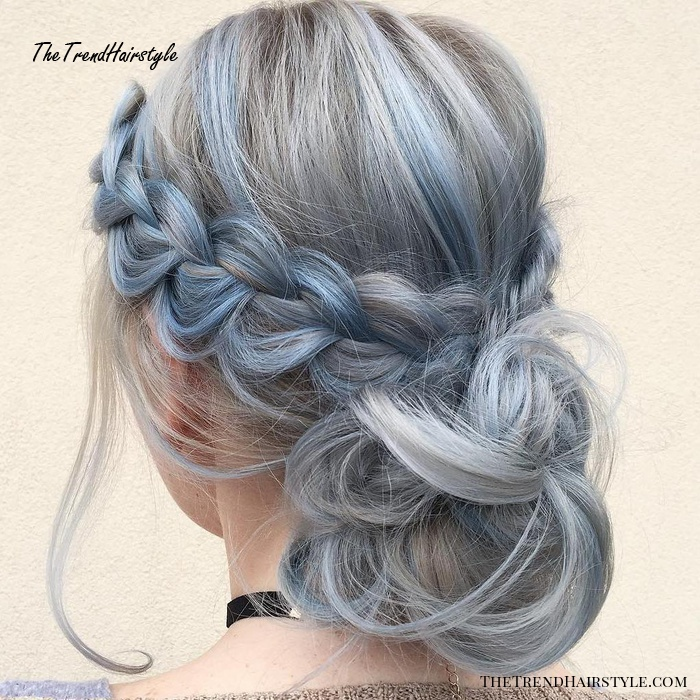 Low Curly Bun Updo With A Braid
